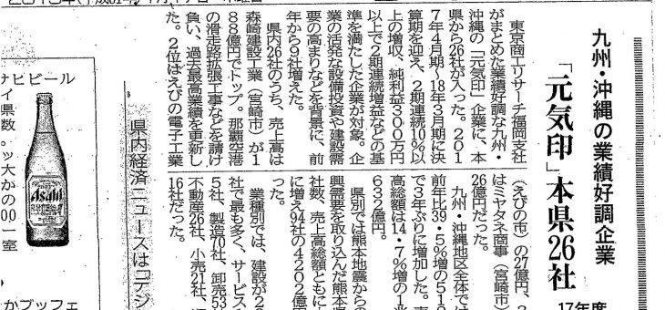 宮崎日日新聞に「元気印」企業として掲載されました